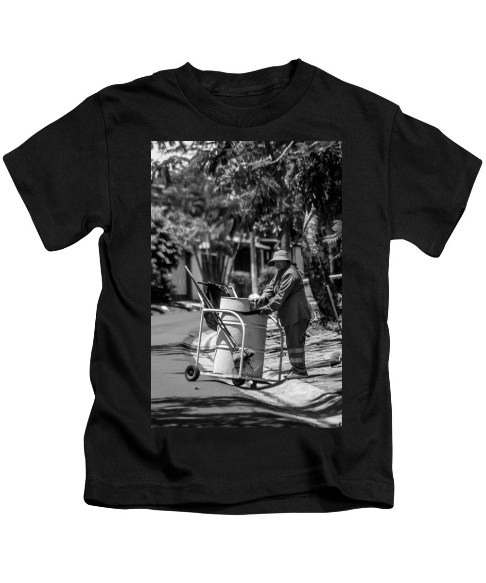 Antiguo Cuscatlan Kids T-Shirt featuring the photograph Barrendera Antiguo Cuscatlan 1 by Totto Ponce