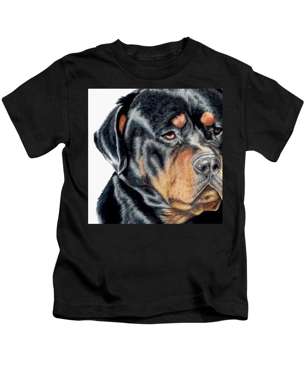 Rottweiler Kids T-Shirt featuring the drawing Bart Detail by Kristen Wesch
