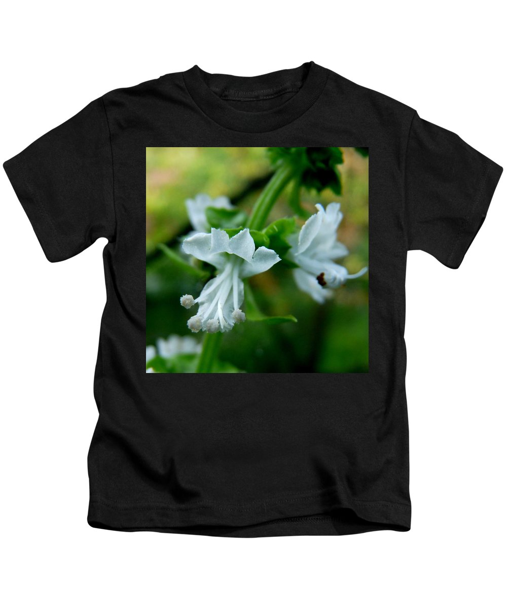 Basil Kids T-Shirt featuring the photograph Basil Bloom by Valerie Ornstein