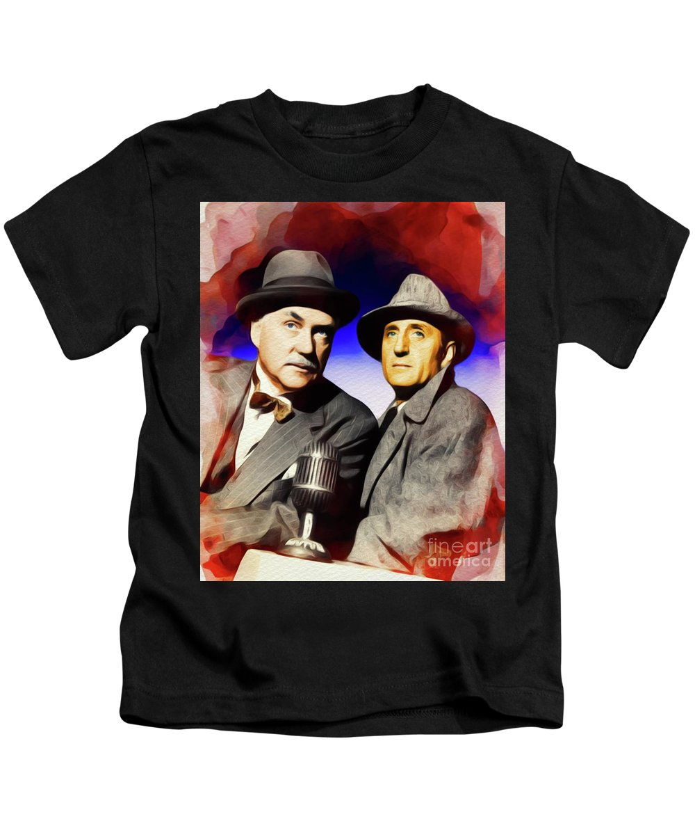Nigel Kids T-Shirt featuring the painting Basil Rathbone And Nigel Bruce, Sherlock And Watson by John Springfield
