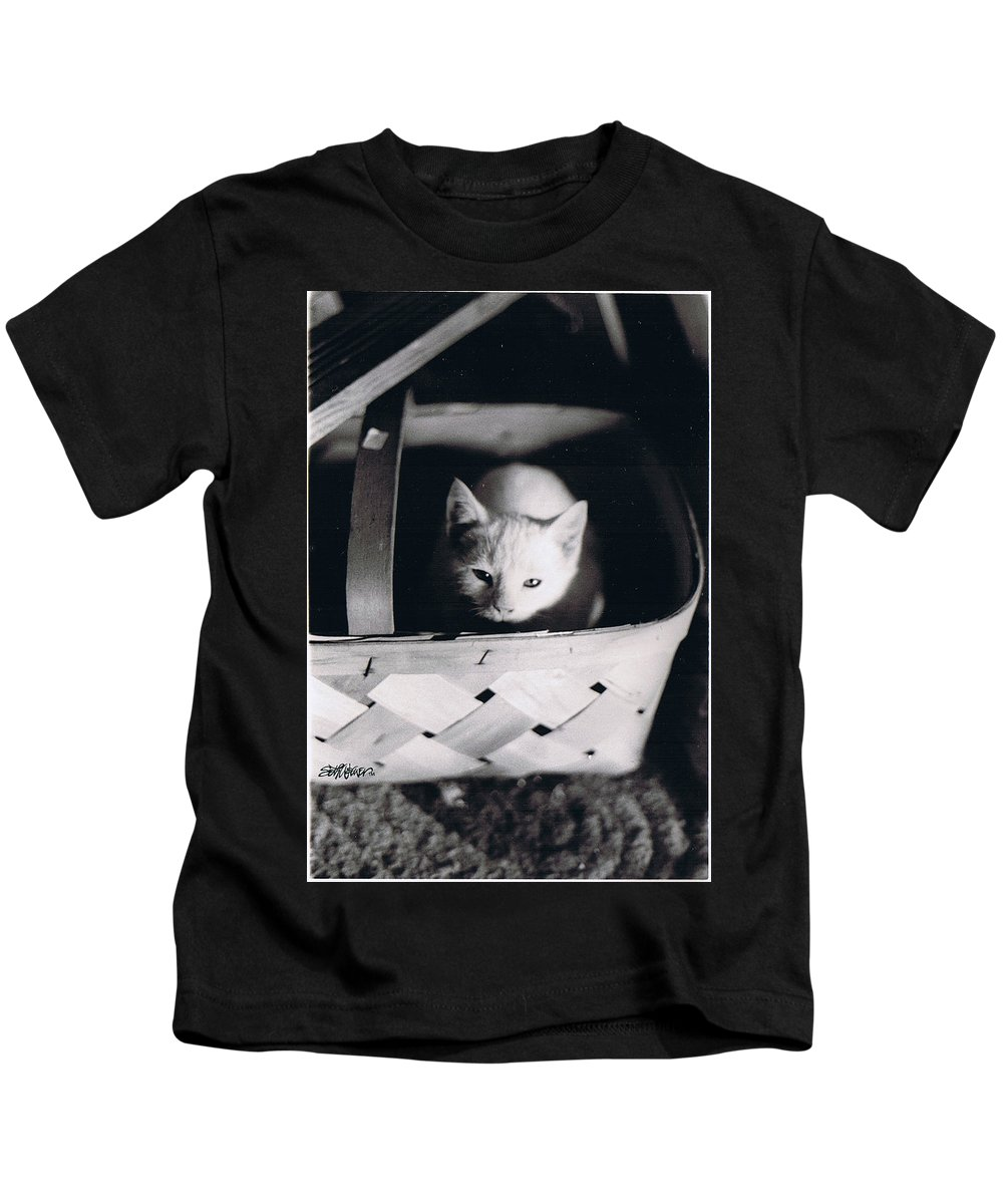 Cat Kids T-Shirt featuring the photograph Basket Full of Charlemagne by Seth Weaver