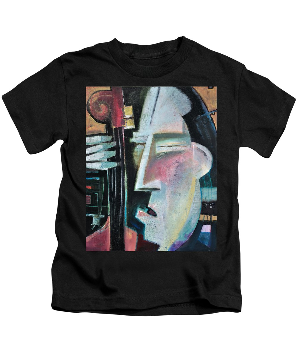 Jazz Kids T-Shirt featuring the painting Bass Face by Tim Nyberg