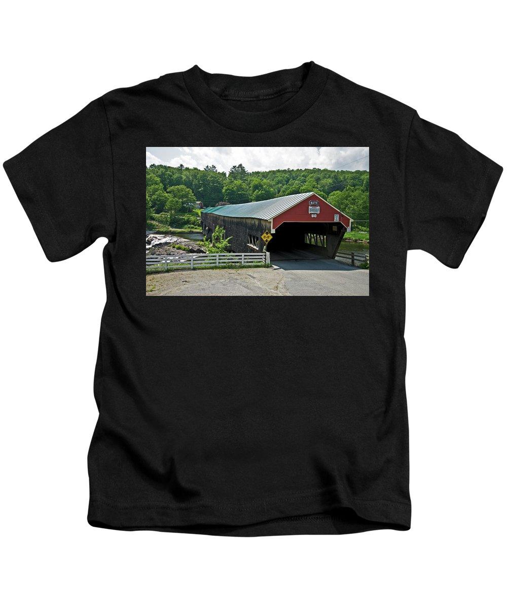 new England Covered Bridges Kids T-Shirt featuring the photograph Bath Bridge by Paul Mangold
