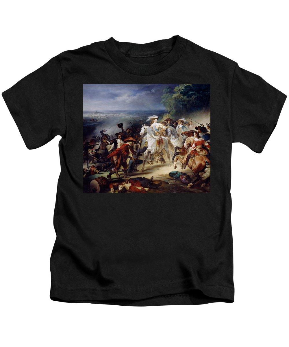 Battle Kids T-Shirt featuring the painting Battle Of Rocroy by Francois Joseph Heim