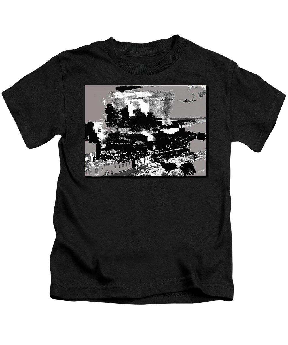 Battle Of Stalingrad Nazi Plane Crossing Volga River 1942 Kids T-Shirt featuring the photograph Battle Of Stalingrad Nazi Plane Crossing Volga River 1942 by David Lee Guss