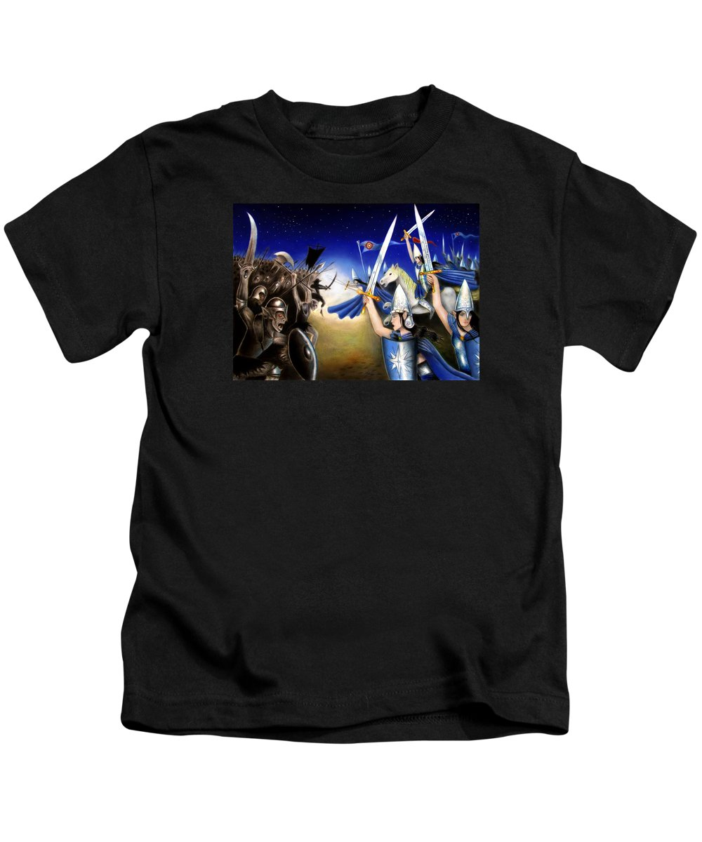 Tolkien Kids T-Shirt featuring the mixed media Battle Under The Stars by Ilias Patrinos