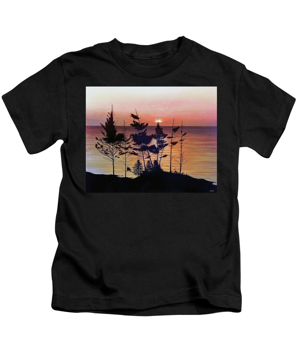 Bay Of Fundy Kids T-Shirt featuring the painting Bay Of Fundy Sunset by Kenneth M Kirsch