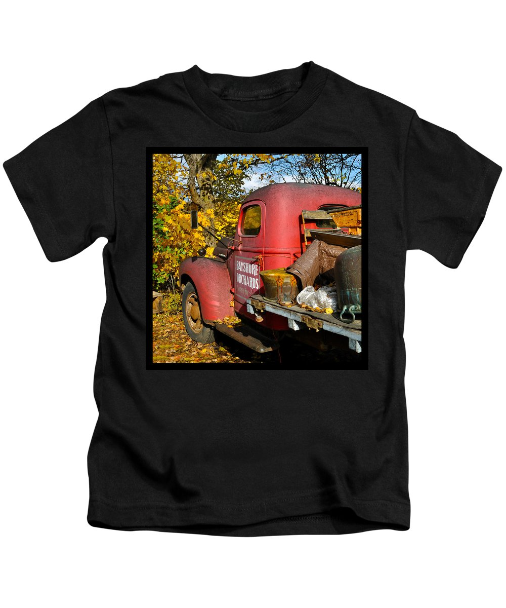 Truck Kids T-Shirt featuring the photograph Bayshore Orchards by Tim Nyberg