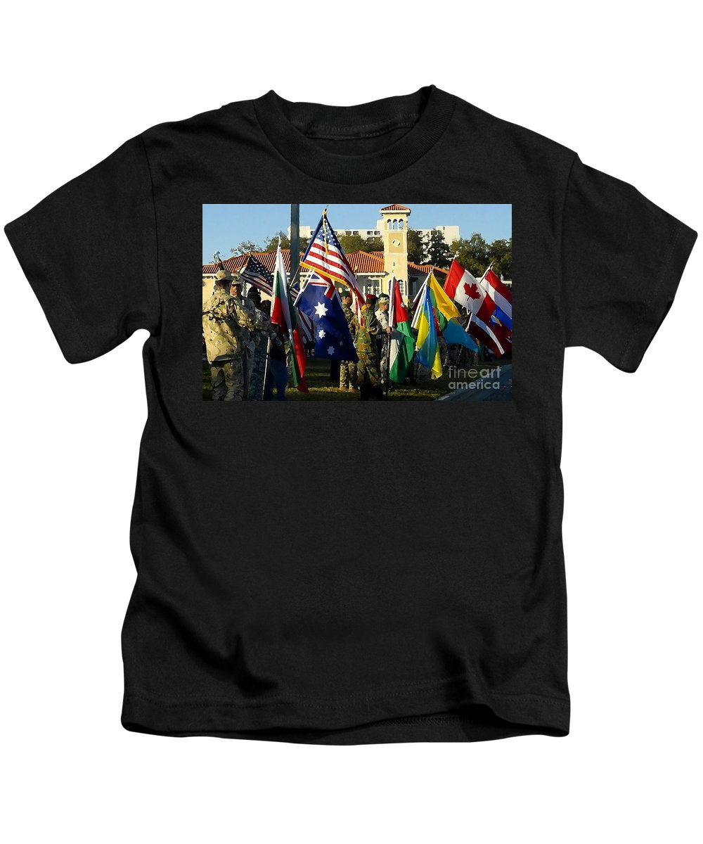 Bayshore Kids T-Shirt featuring the photograph Bayshore Patriots by David Lee Thompson
