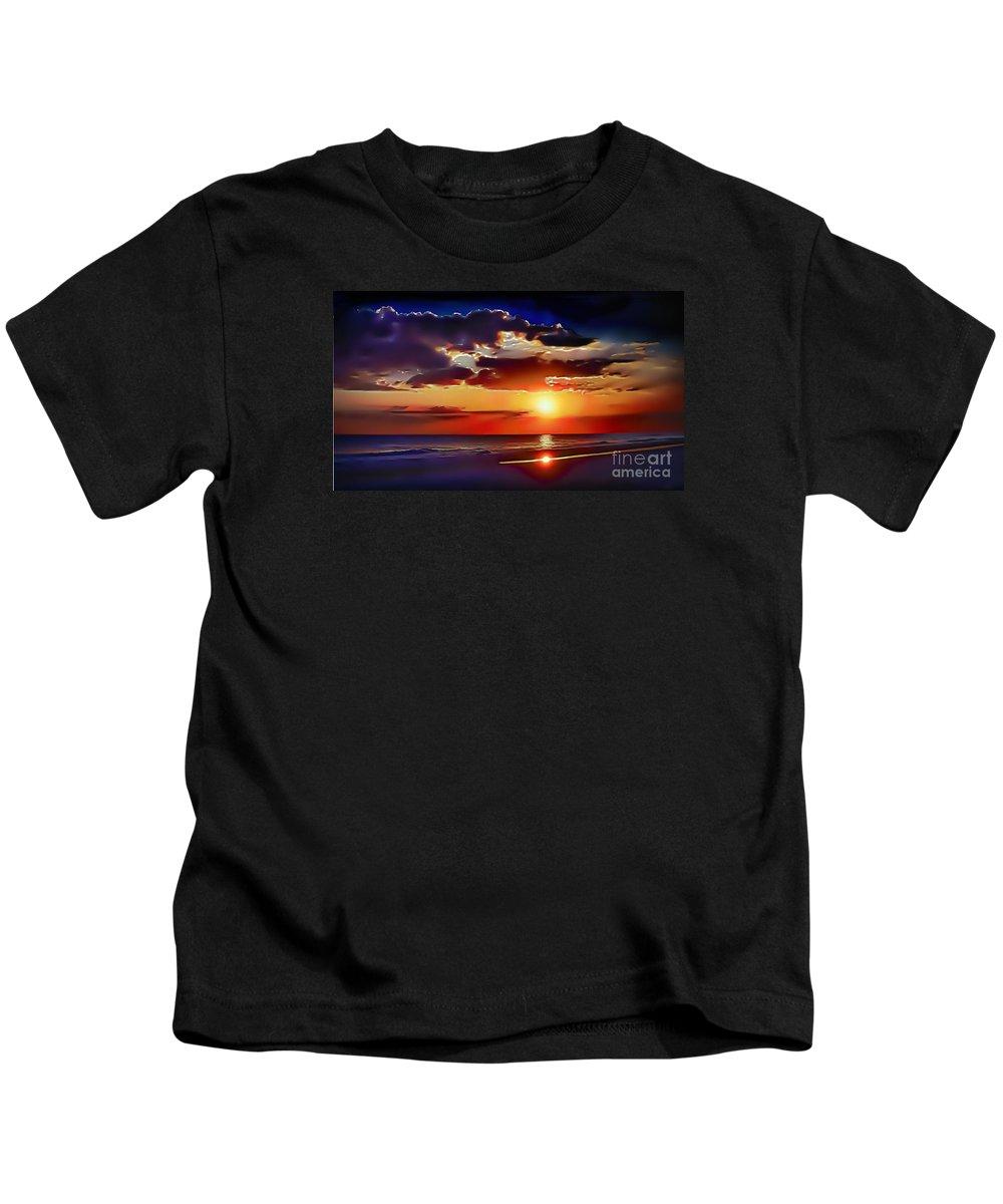 Beach Kids T-Shirt featuring the photograph Beach Sunset 5184 by Walt Foegelle