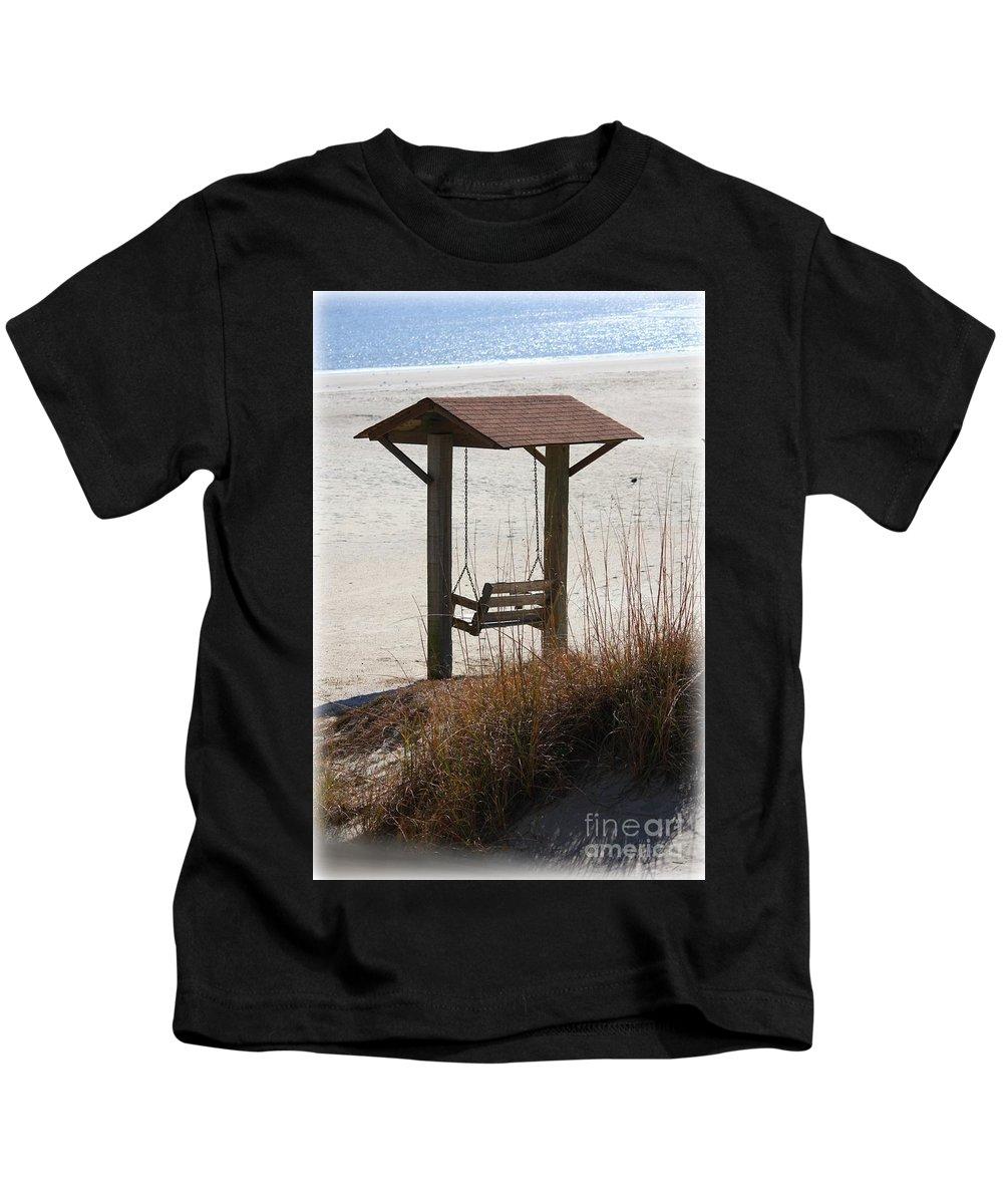 Beach Kids T-Shirt featuring the photograph Beach Swing by Carol Groenen