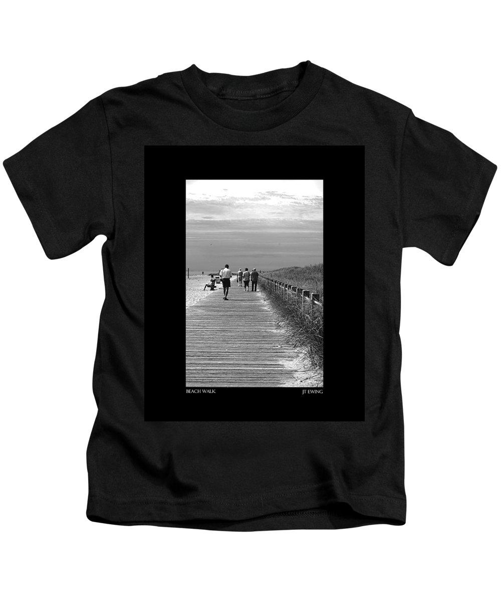 Boardwalk Kids T-Shirt featuring the photograph Beach Walk by J Todd