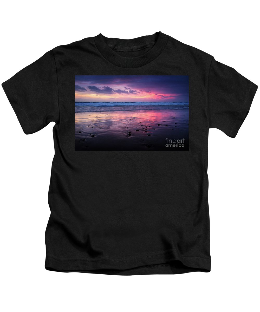 Storm Kids T-Shirt featuring the photograph Beach Winter Sunset 2 by Carlos Caetano