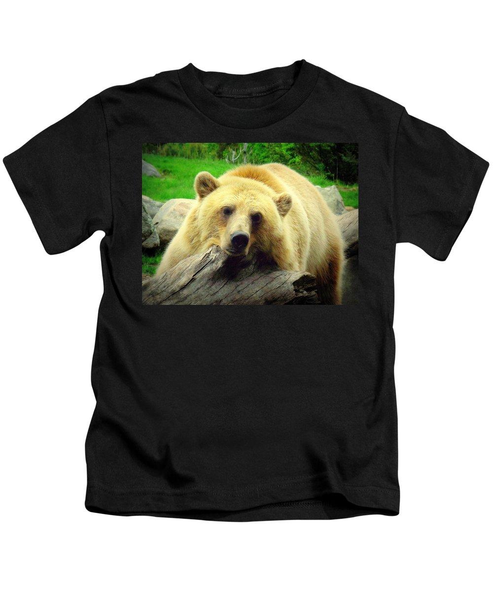Bear Kids T-Shirt featuring the photograph Bear On A Log by John Olson