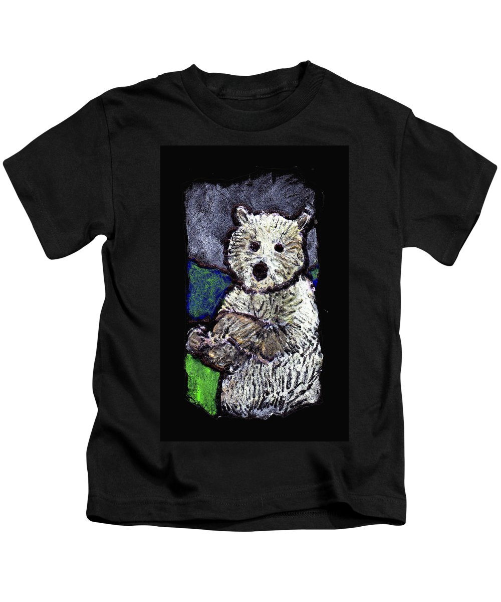 Bear Kids T-Shirt featuring the painting Bearly Scary by Wayne Potrafka