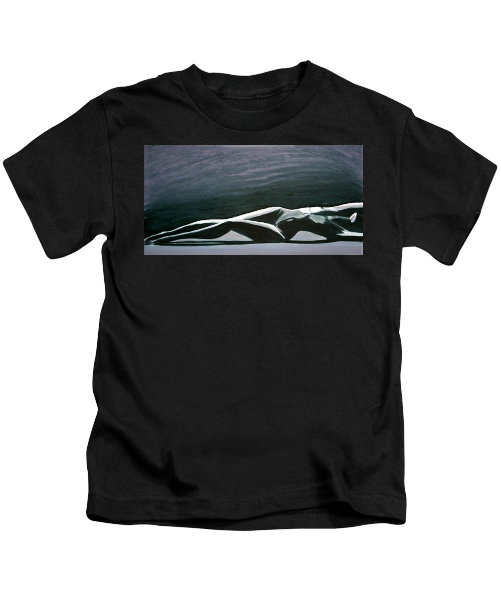 Art Kids T-Shirt featuring the painting Beautiful Diver by Jarmo Korhonen aka Jarko