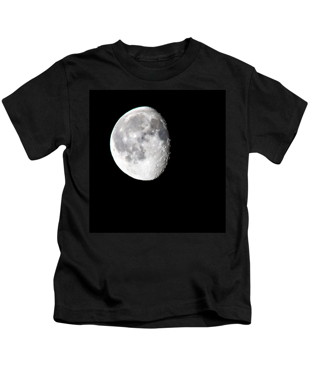Morning Moon Kids T-Shirt featuring the photograph Beautiful February Morning Moon by Michael Johnk