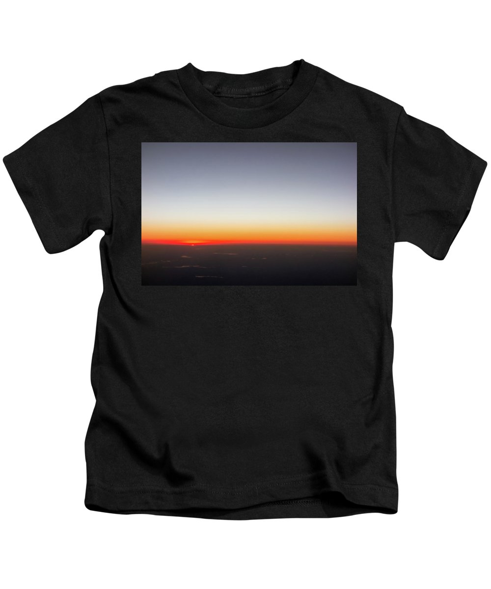 View Kids T-Shirt featuring the photograph Beautiful Sunset View From An Airplane Over Land by Alex Grichenko