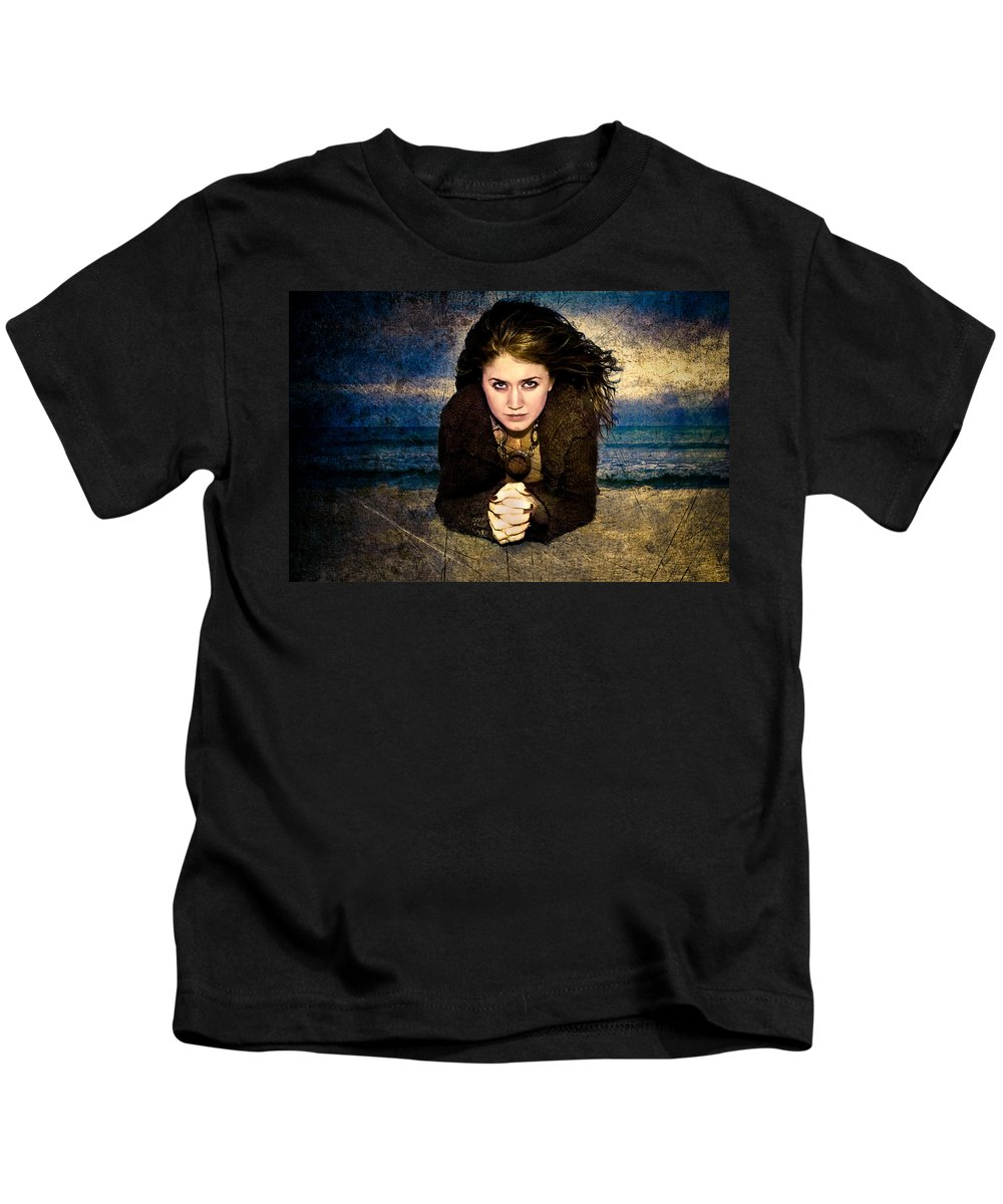 Woman Kids T-Shirt featuring the photograph Beauty On The Beach by Rich Leighton