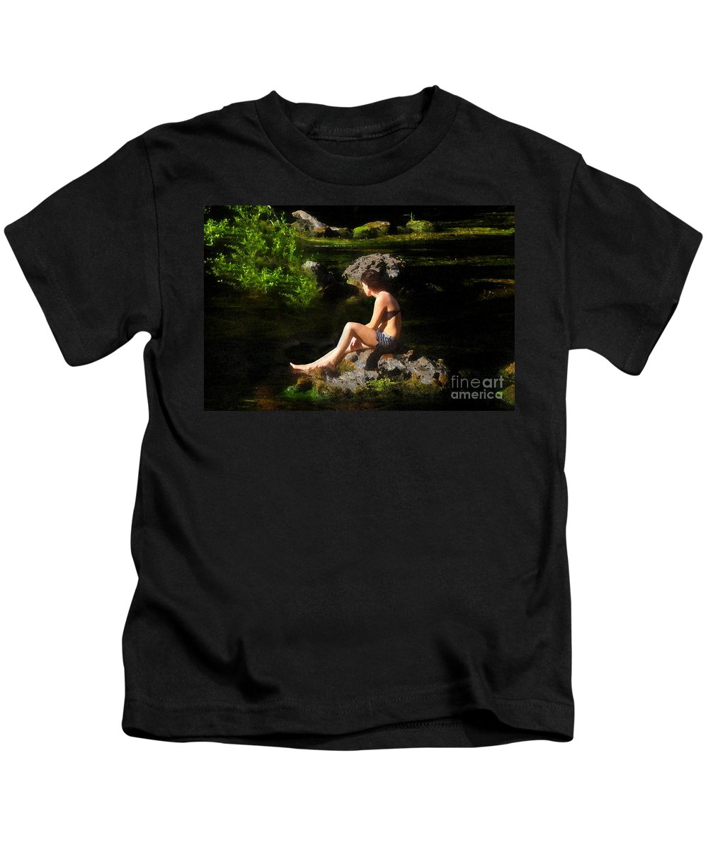 Beauty Kids T-Shirt featuring the painting Beauty On The Rocks by David Lee Thompson