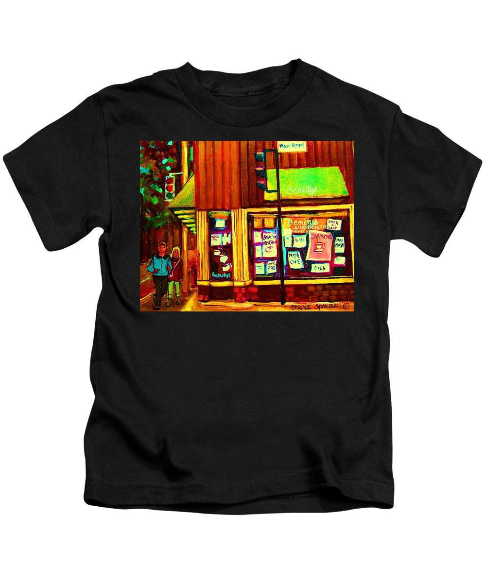 Beautys Restaurant Kids T-Shirt featuring the painting Beautys Famous Mishmash by Carole Spandau