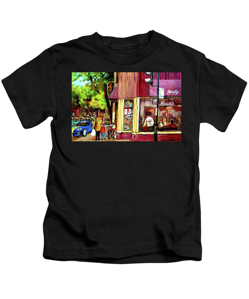 Beautys Luncheonette Montreal Diner Kids T-Shirt featuring the painting Beautys Luncheonette Montreal Diner by Carole Spandau