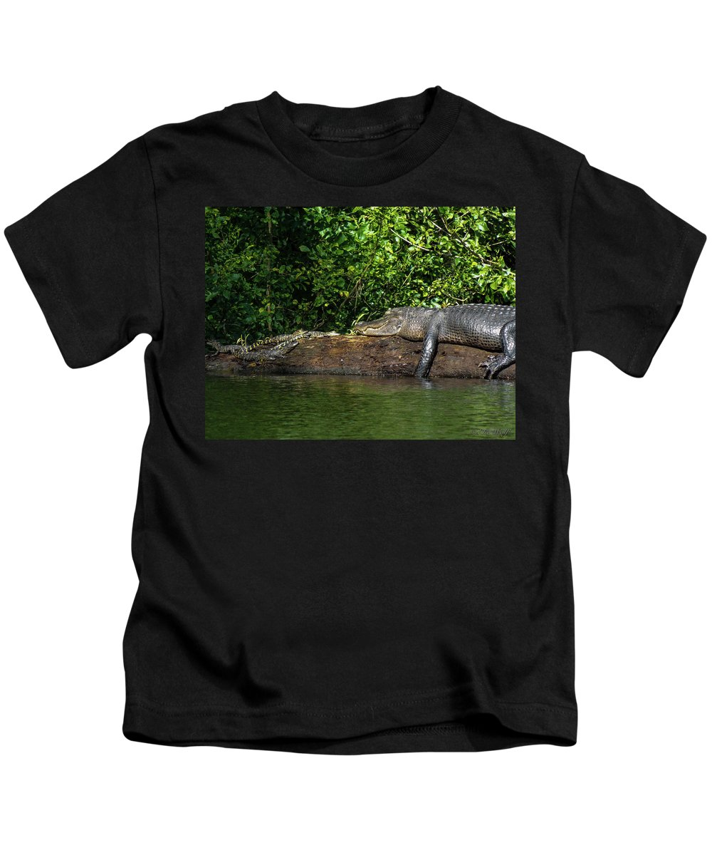 American Alligator Kids T-Shirt featuring the photograph Because I'm Happy by Elie Wolf