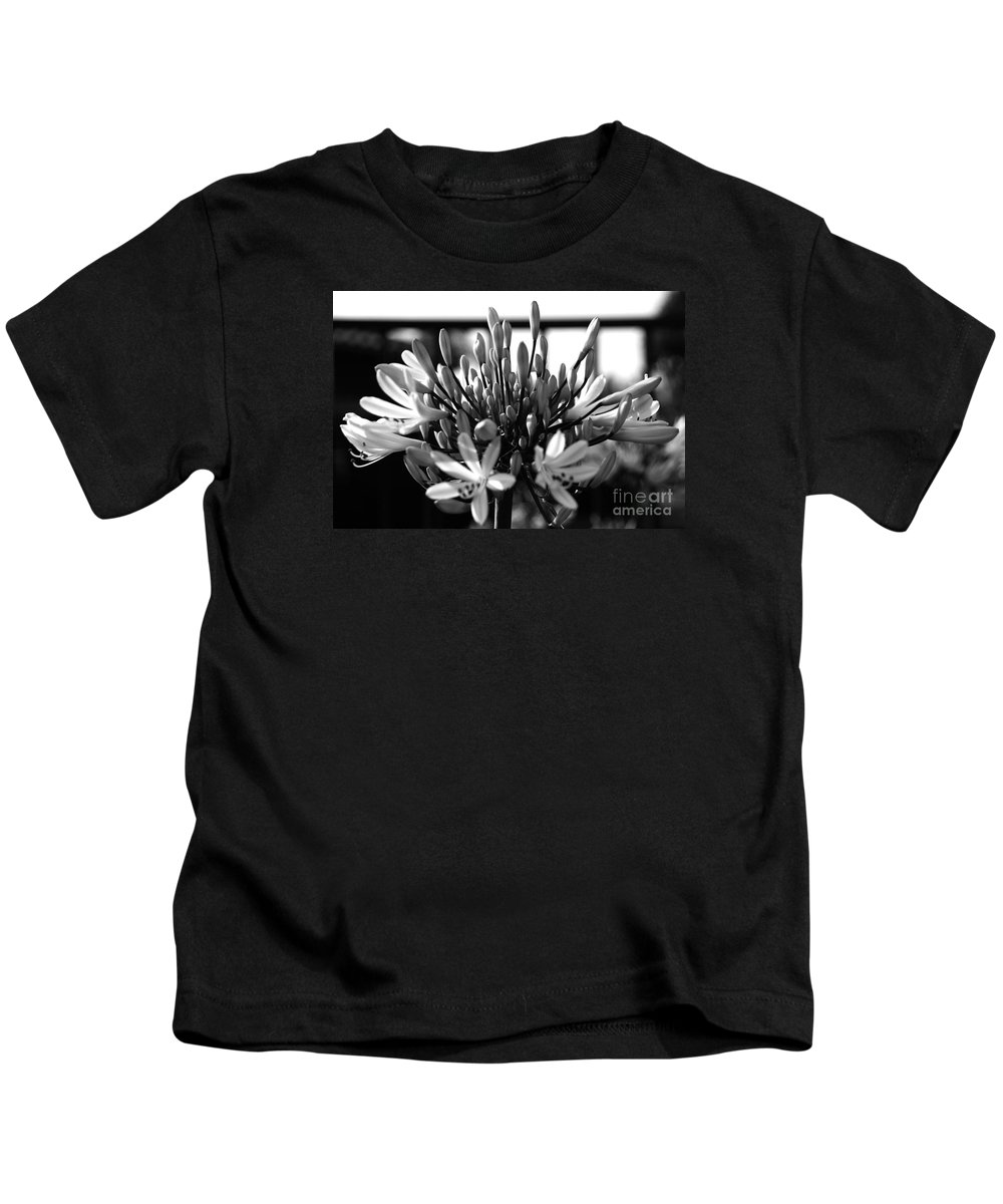 Floral Kids T-Shirt featuring the photograph Becoming Beautiful - Bw by Linda Shafer