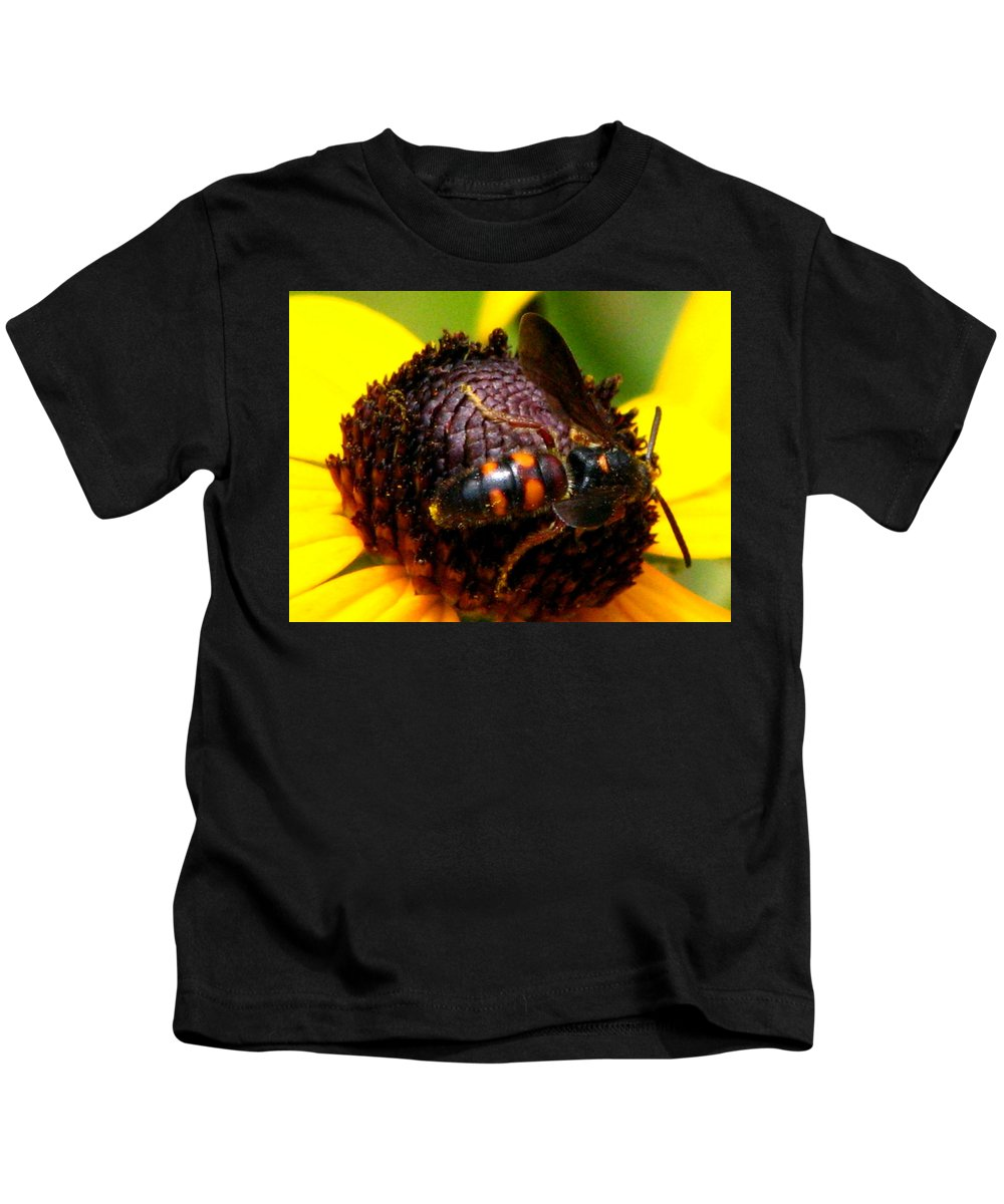 Lazy Susan Kids T-Shirt featuring the photograph Bee On Lazy Susan 4 by J M Farris Photography