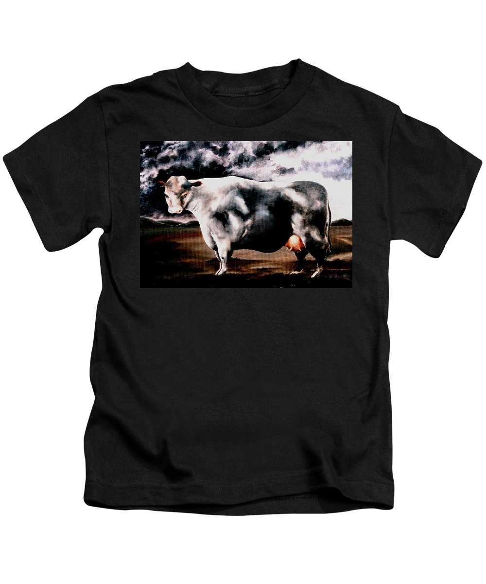 Cow Kids T-Shirt featuring the painting Beef Holocaust Iv by Mark Cawood
