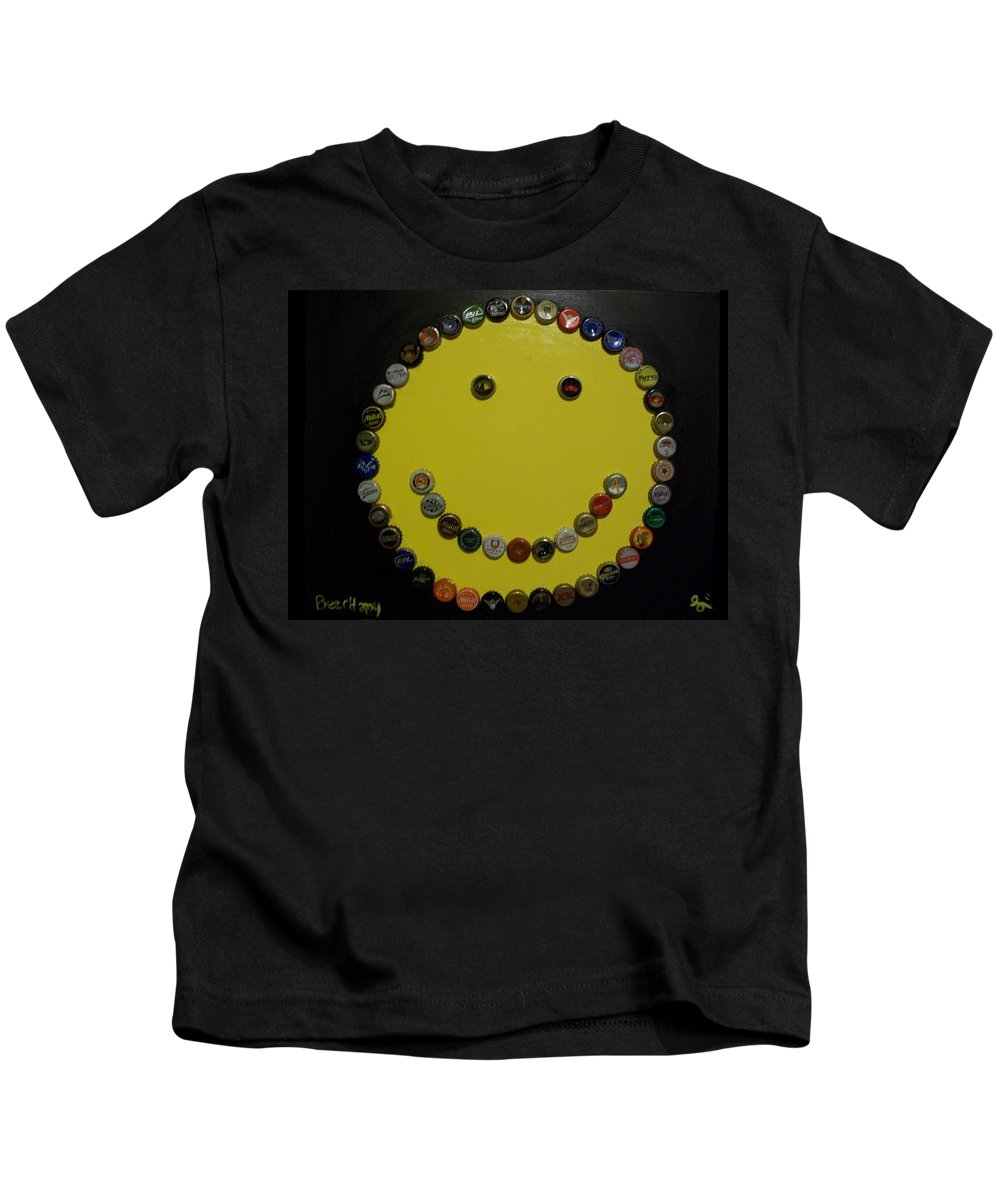 Yellow Kids T-Shirt featuring the painting Beer Happy by Laurette Escobar