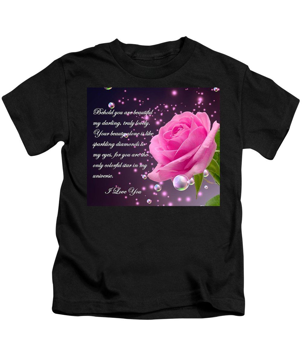 Behold Kids T-Shirt featuring the digital art Behold You Are Beautiful by Jean Desarmes