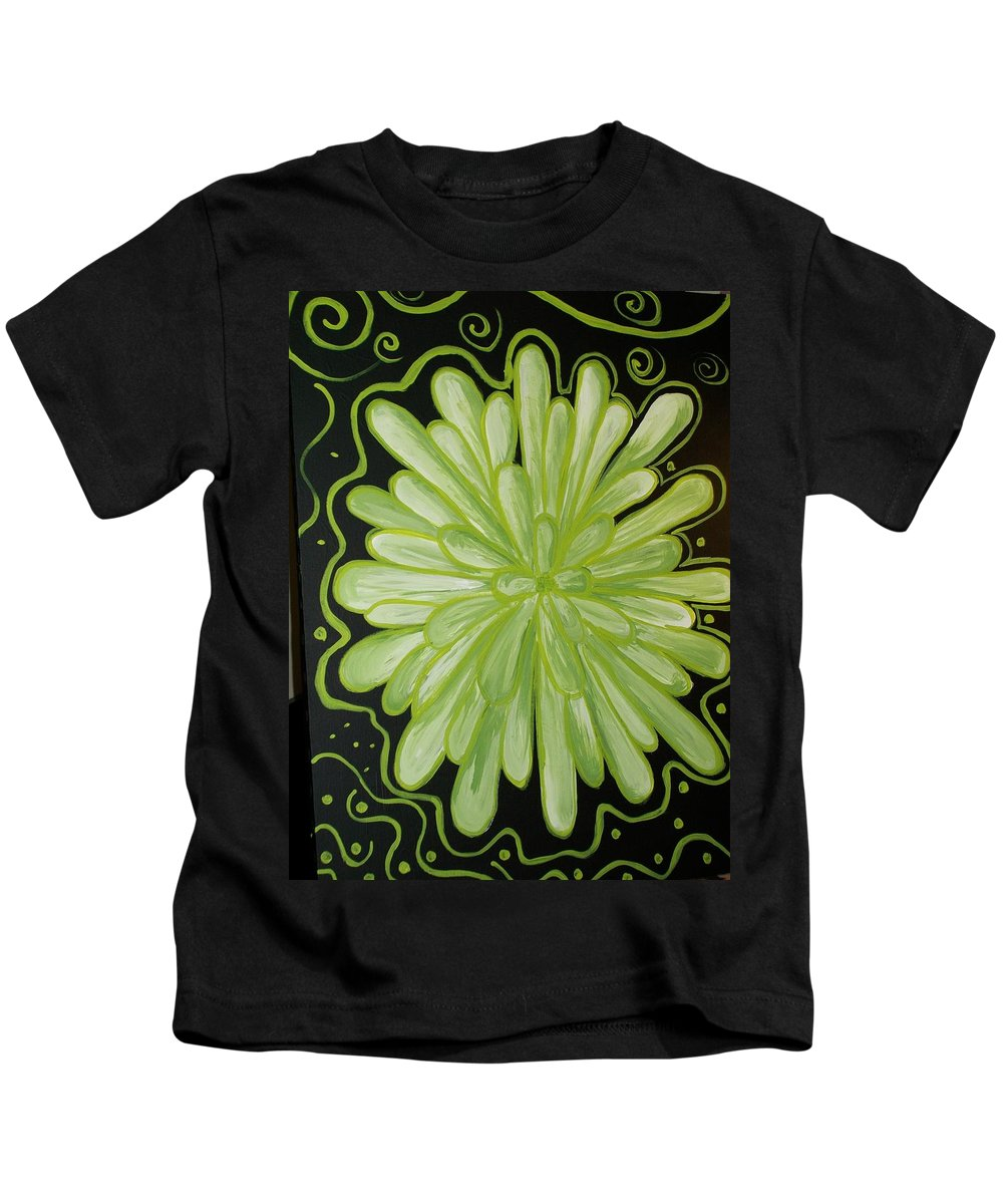 Green Kids T-Shirt featuring the painting Being Green by Laurette Escobar
