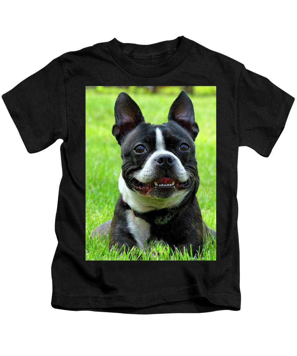 Dog Kids T-Shirt featuring the photograph Bella The Boston by Lori Pessin Lafargue
