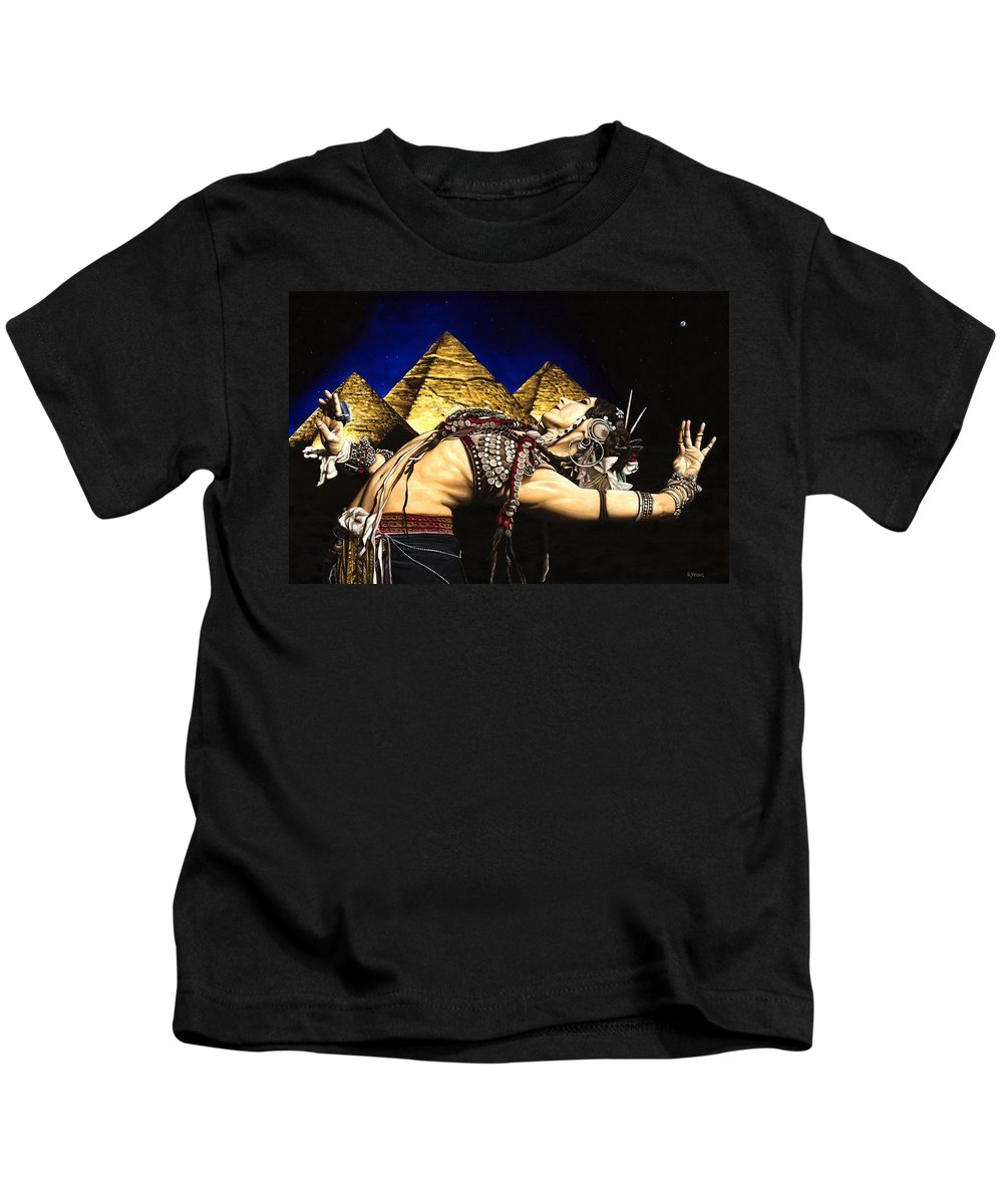 Bellydance Kids T-Shirt featuring the painting Bellydance Of The Pyramids - Rachel Brice by Richard Young