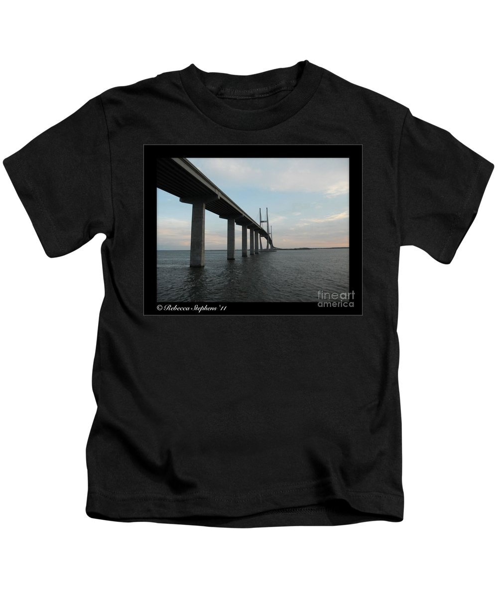 Sidney Lanier Bridge Kids T-Shirt featuring the photograph Below The Sidney Lanier by Rebecca Stephens