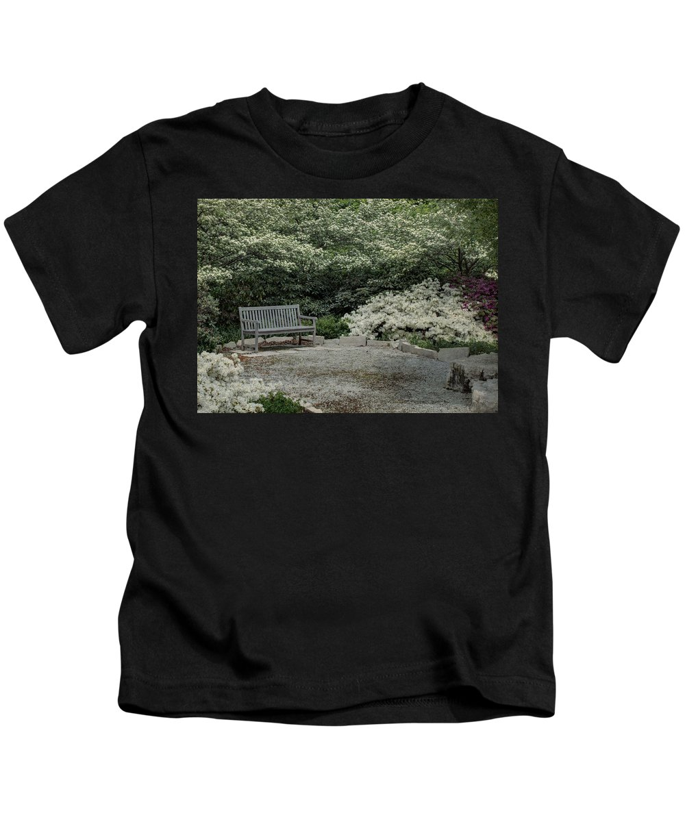Texture Kids T-Shirt featuring the photograph Bench by Michael Colgate