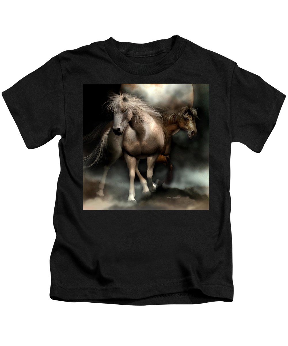 Horses Kids T-Shirt featuring the mixed media Beneath A Summer Moon by Carol Cavalaris