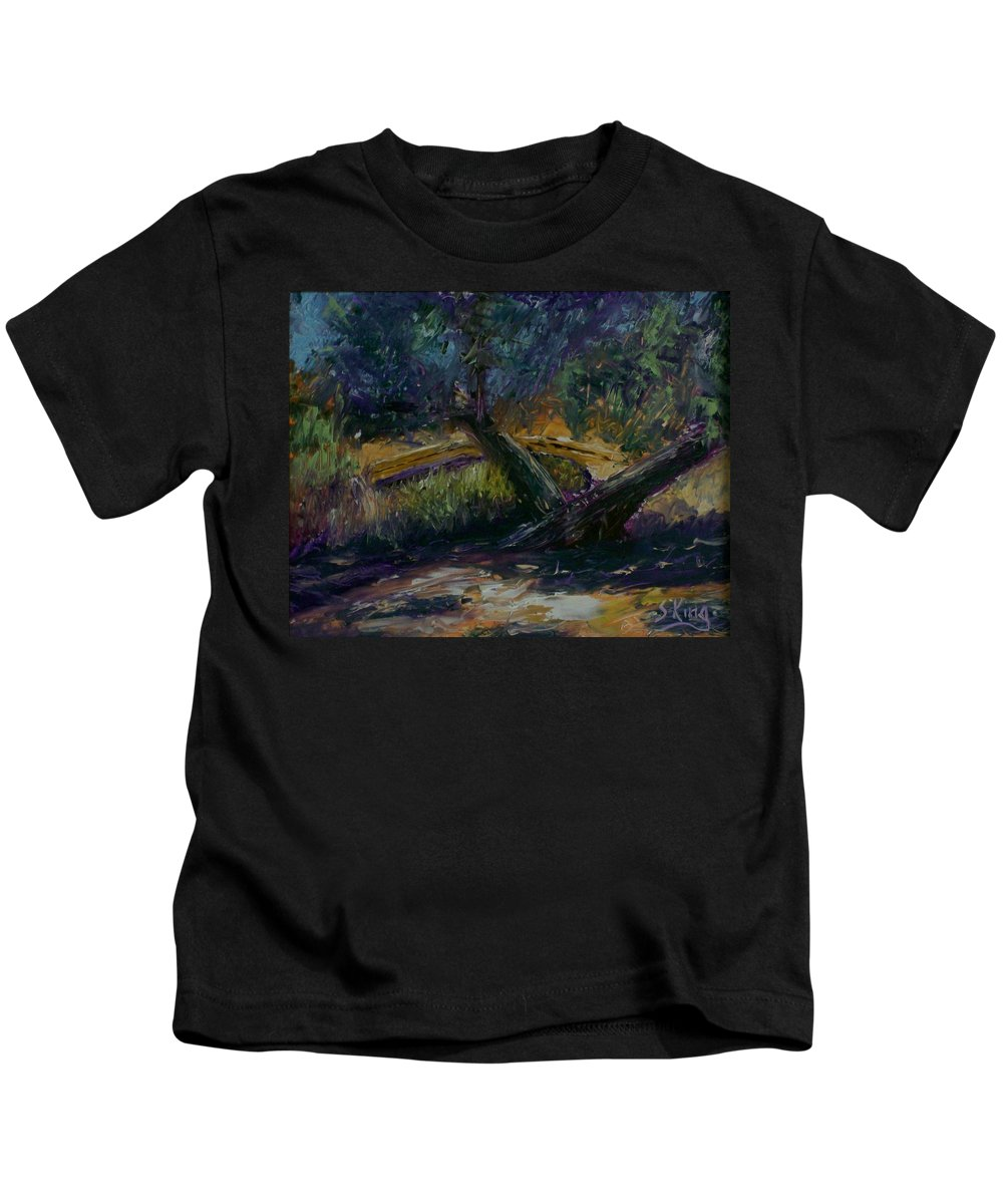 Landscape Kids T-Shirt featuring the painting Bent Tree by Stephen King