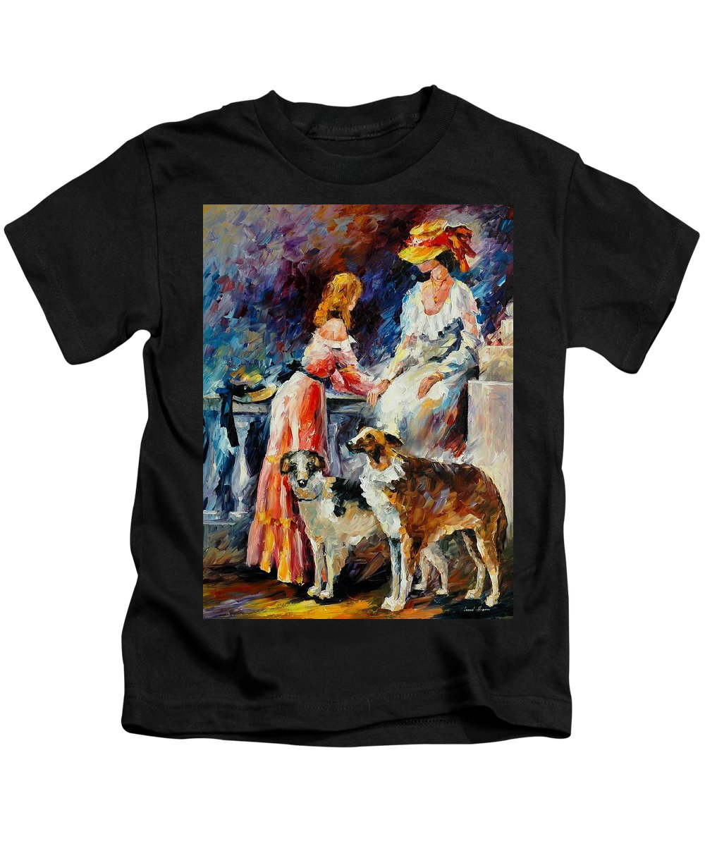 Afremov Kids T-Shirt featuring the painting Best Friends by Leonid Afremov