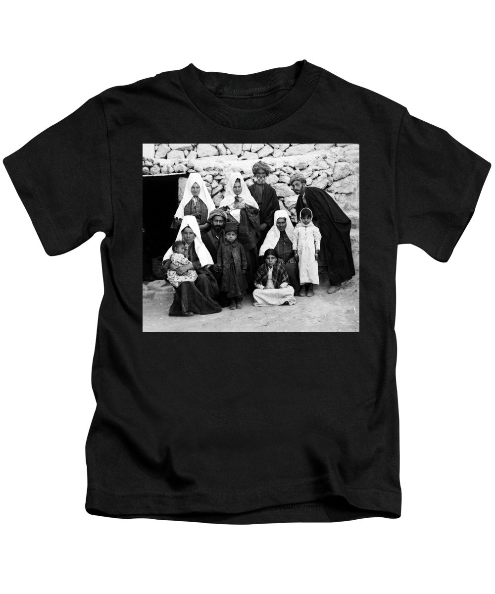 Bethlehem Kids T-Shirt featuring the photograph Bethlehem Family In 1900s by Munir Alawi
