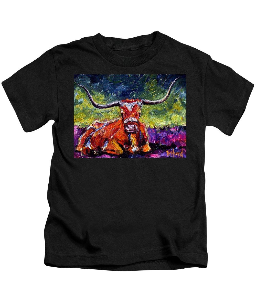 Texas Longhorn Kids T-Shirt featuring the painting Bevo by Debra Hurd