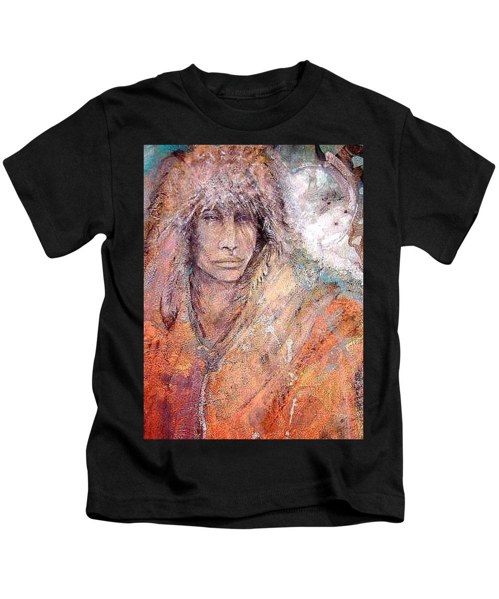 Indian Kids T-Shirt featuring the painting Bewildered by Barbara Lemley