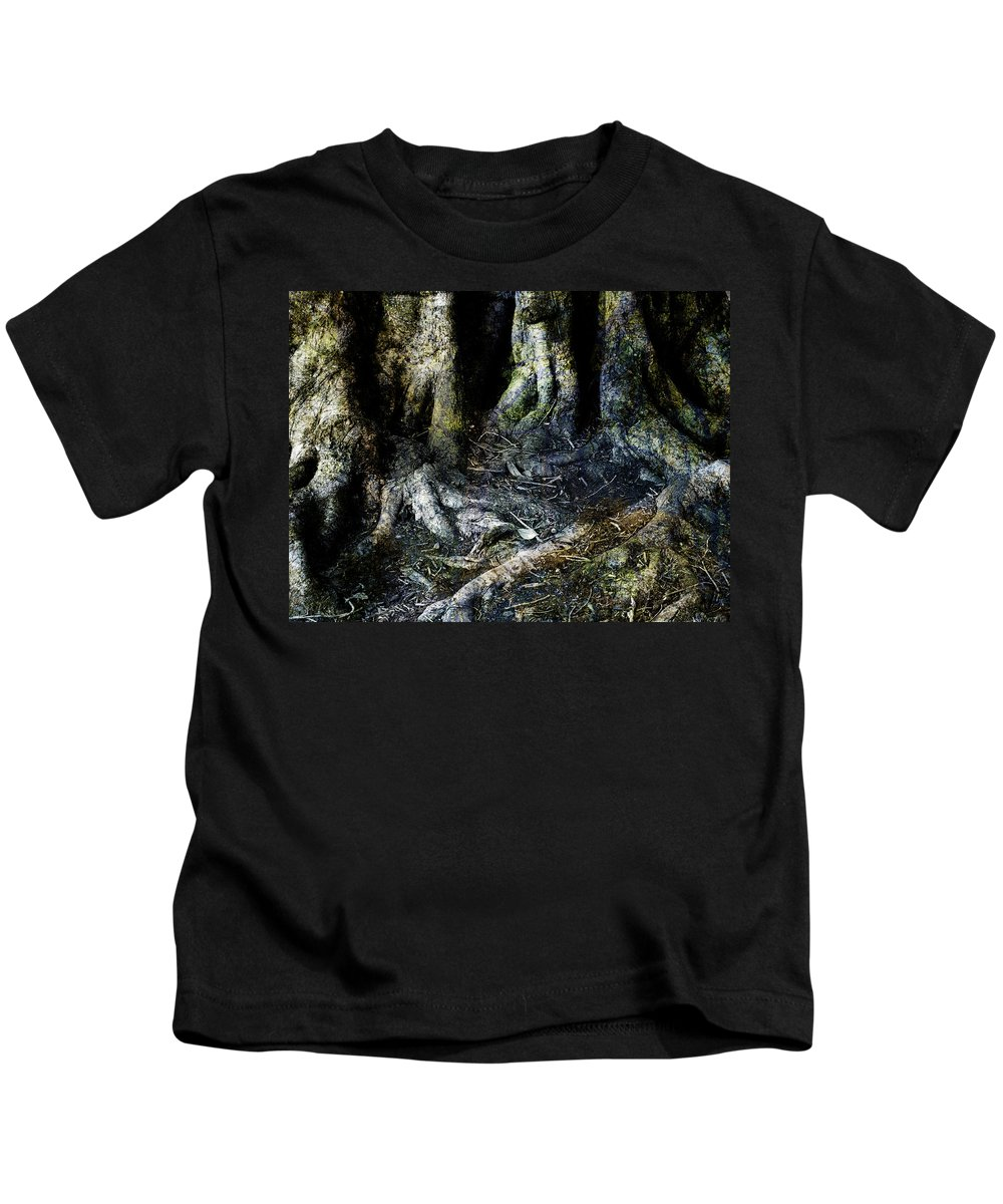 Tree Kids T-Shirt featuring the photograph Beyond The Forest Edge by Kelly Jade King