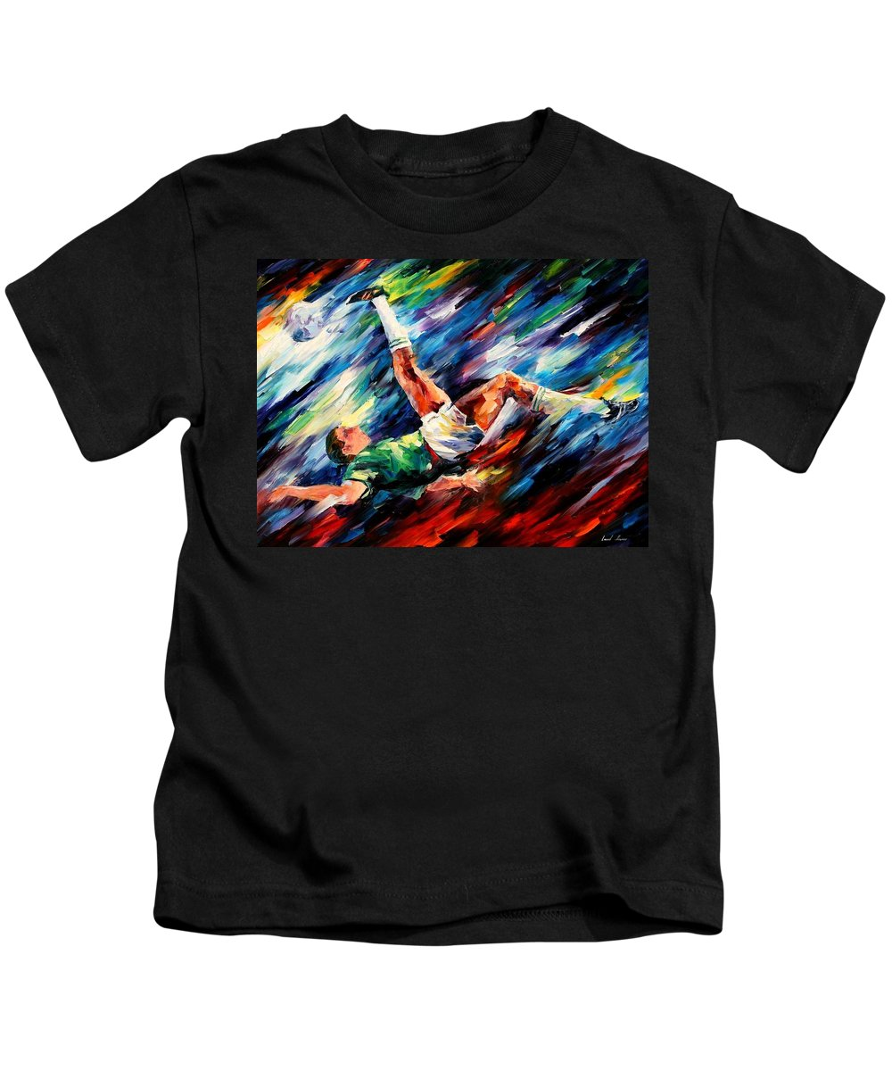 Afremov Kids T-Shirt featuring the painting Bicycle Kick by Leonid Afremov