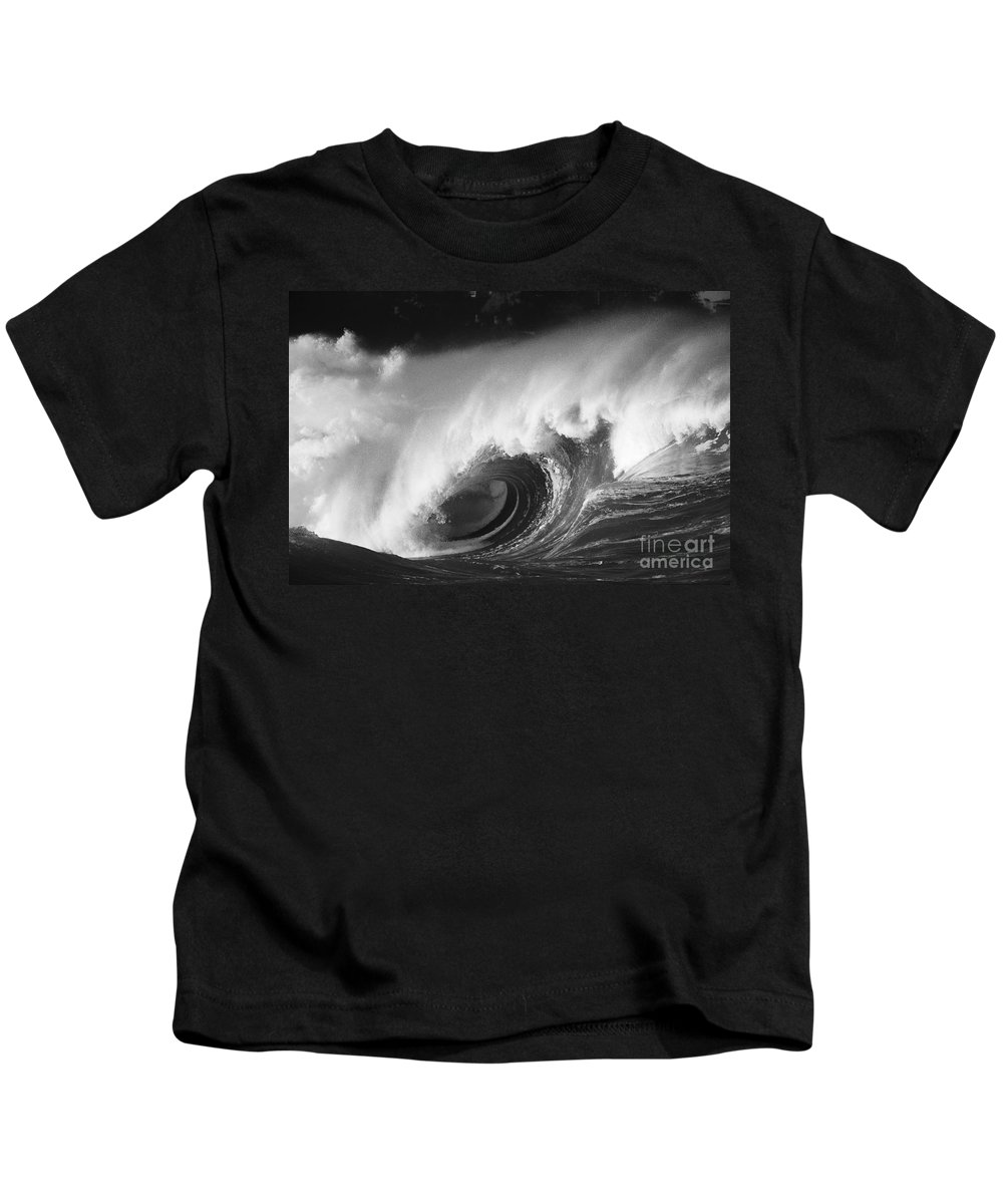 Art Medium Kids T-Shirt featuring the photograph Big Breaking Wave - Bw by Vince Cavataio - Printscapes