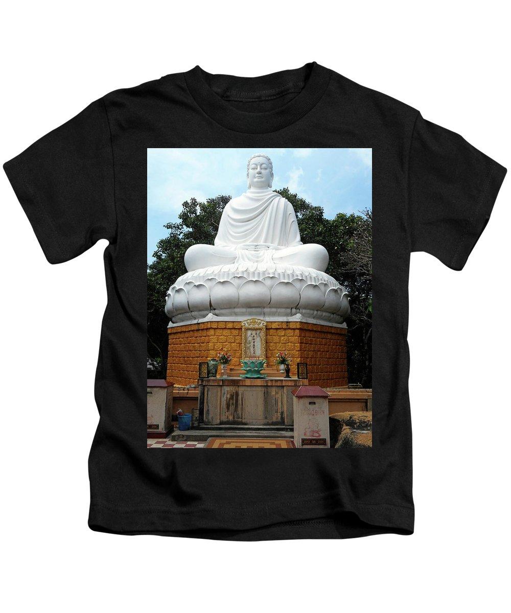 Phu My Kids T-Shirt featuring the photograph Big Buddha 3 by Ron Kandt