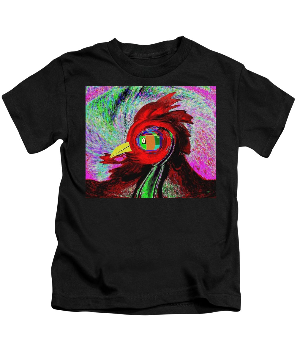 Abstract Kids T-Shirt featuring the digital art Big Fat Red Hen by Will Borden