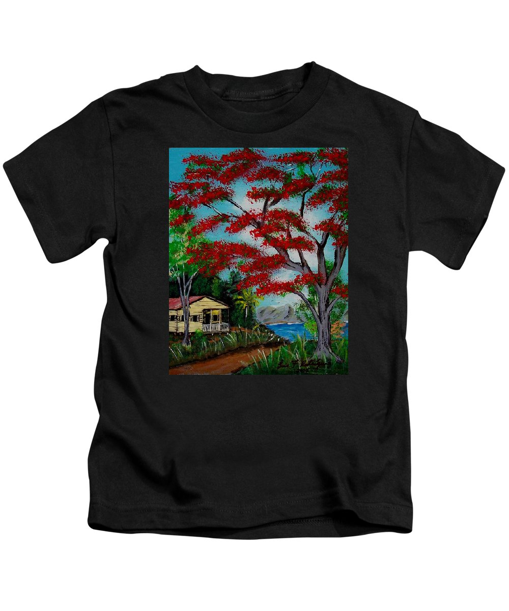 Flamboyant Tree Kids T-Shirt featuring the painting Big Red by Luis F Rodriguez