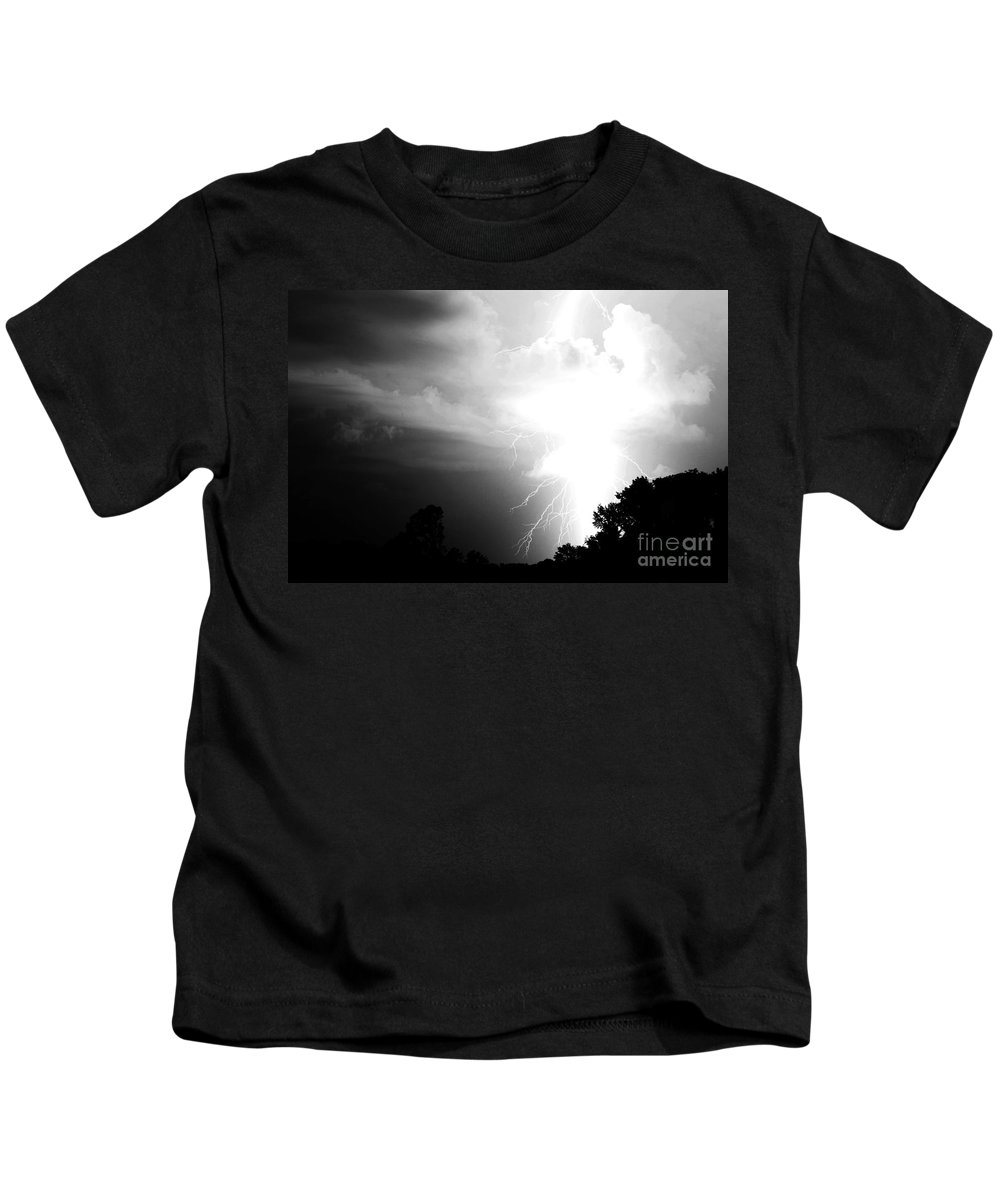 Lightning Kids T-Shirt featuring the photograph Big Strike by Amanda Barcon
